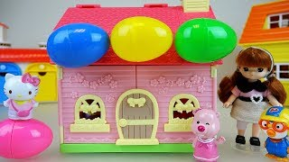 Surprise eggs and Hello Kitty house baby doll toys play