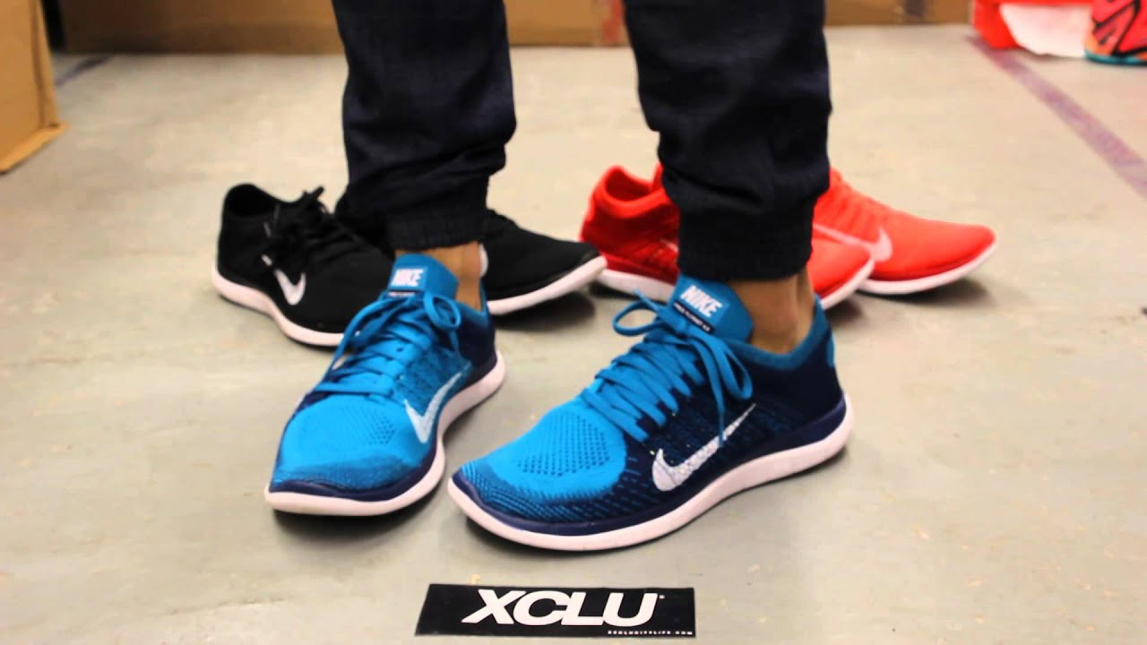 Nike Free Flyknit 4.0 Hommes - Nike Free 4.0 Flyknit Photo Bleu Nikes Réduction Fin