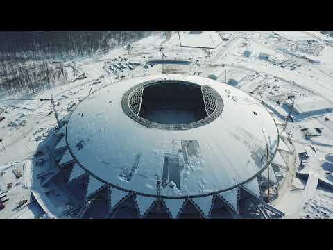 Стадион Самара Арена 20.02.2018 тестируют огромные мониторы