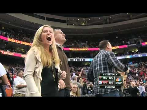 Spencer Hawes ridiculous  game-tying 3 pointer Sixers-Bucks