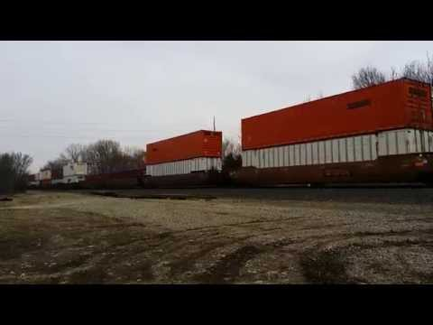 Fast moving stack train with a burnt Sante fe unit