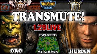 Grubby | Warcraft 3 TFT | 1.29 LIVE | ORC v HU on Twisted Meadows - Transmute!