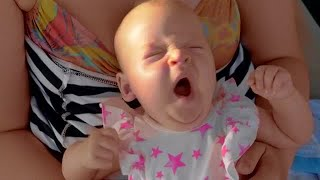 Sleepy Baby Yawning Stock Video