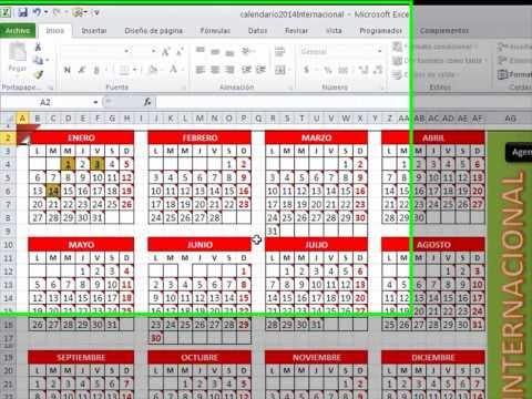 Plantilla Calendario Excel 2014, Agenda, Administrador y escanear desde Excel