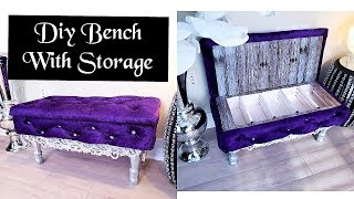 DIY CRYSTAL TUFTED BENCH WITH STORAGE - INEXPENSIVE HOME DECOR IDEA!