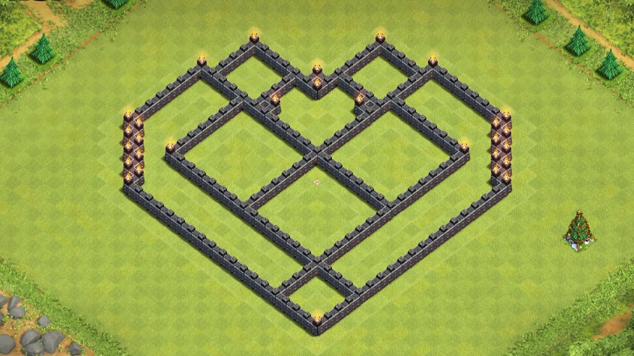 CoC: EPIC Town Hall 7 Farming base Build! Heart Design - YouTube