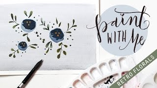 PAINT WITH ME: Retro Vintage Flower Watercolour Tutorial (Easy Painting For Beginners)