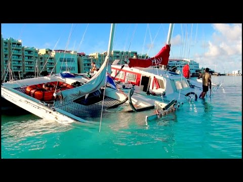 OUCH!! What NOT TO DO with a sailboat near a REEF...  in St Maarten / St Martin, SXM, CARIBBEAN