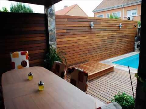 Elementos de dise o para jardines terrazas y piscinas for Paredes de madera para jardin