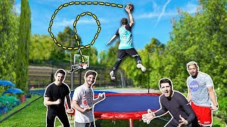 RIDICULOUS TRAMPOLINE BASKETBALL TRICKSHOTS!
