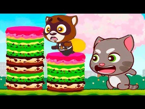 ГОВОРЯЩИЙ ТОМ минимульты ВКУСНАЯ БАШНЯ Тома #2 ДРУЗЬЯ! Игровой мультик   Talking Tom Cake Jump
