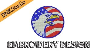 American Bald Eagle Machine Embroidery Design