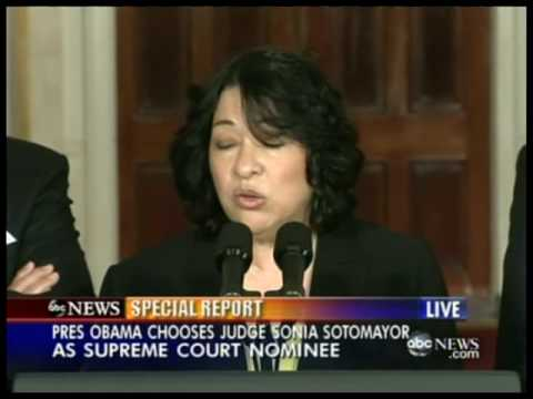 Sonia Sotomayor's Supreme Court Nomination Speech