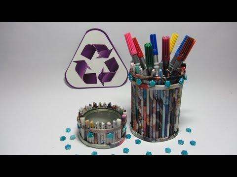 Porta lápices con revistas. Pencil holder.