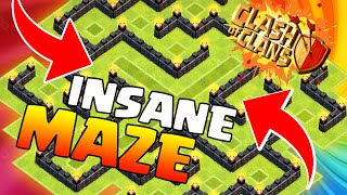 "Clash Of Clans-""NEW""CRAZY MAZE BASE!""WTF TROLL BASE TH7"