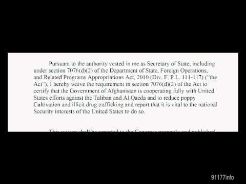 Document U.S. Allows Afghanistan to ignore Taliban, Al Qaeda and Drug Trafficking