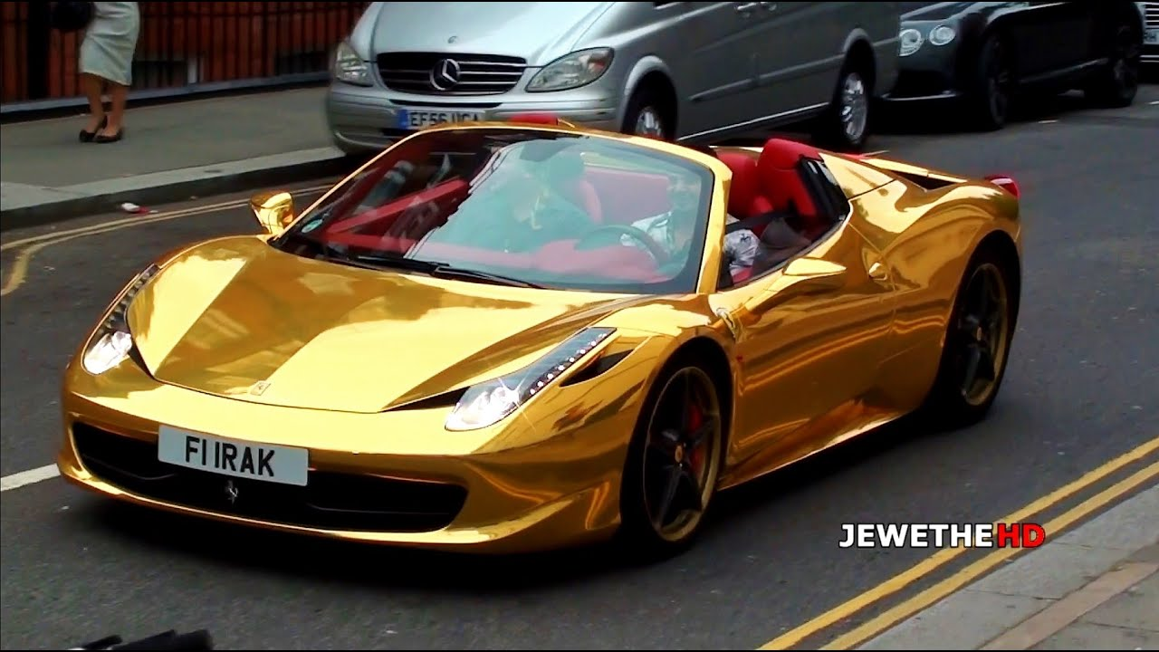 Chrome Gold Ferrari 458 Spider Cruising Through London