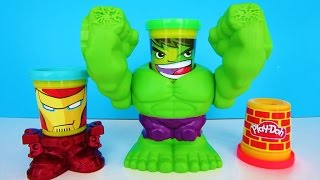 Play Doh Hulk Iron Man Can Heads Marvel Smashdown Toy Unboxing Video