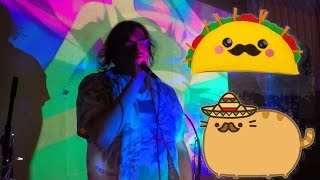 FrankJavCee performs in a Mexican Restaurant