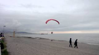Low pass at the beach Paramotor