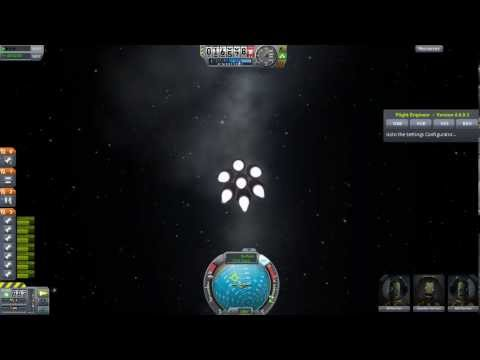 Kerbal Space Program 0.21 launching and docking large orange fuel tanks with station