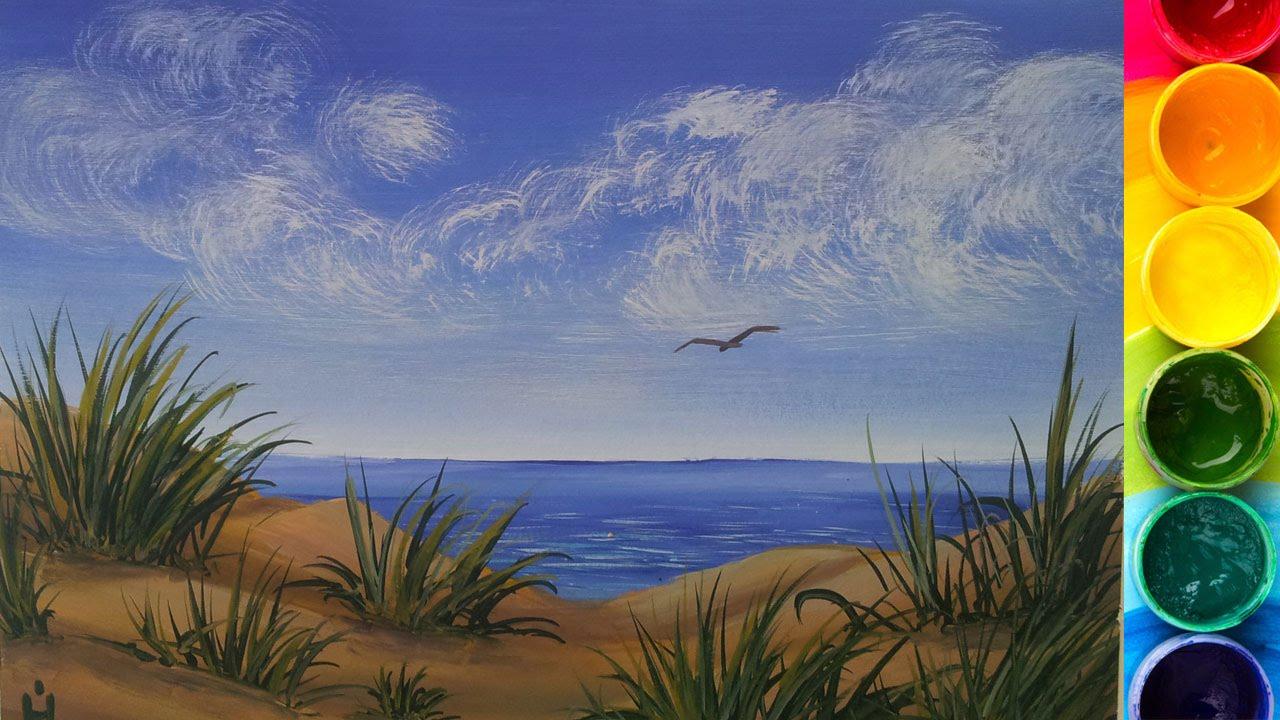Рисуем море гуашью для начинающих