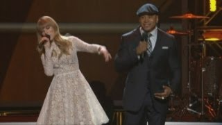 Taylor Swift beatboxes with LL Cool J at Grammy nominations