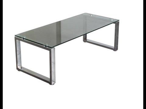 Mesa mesita de centro moderna con base metalica cromada for Base de cristal para mesa