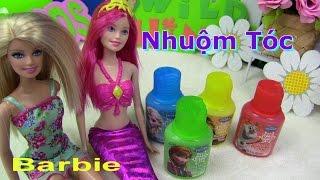 💞Nàng Tiên Cá Barbie Mermaid💞💞 Nhuộm Tóc Elsa Ariel Barbie ❤ Disney Frozen Finger Bathtub Paint