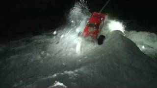 RC monster stunts, crashes and fun on snow: slow motion