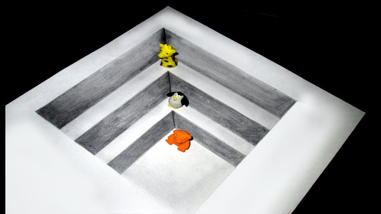 3d Staircase Drawing Drawing Amazing 3d Hole