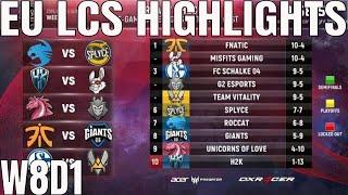 EU LCS Highlights ALL GAMES Week 8 Day 1 Full Day Highlights Summer 2018 W7D1
