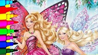 SPARKLE BARBIE MARIPOSA Rainbow Fairy Princess Coloring Book Pages Barbie Fairytopia