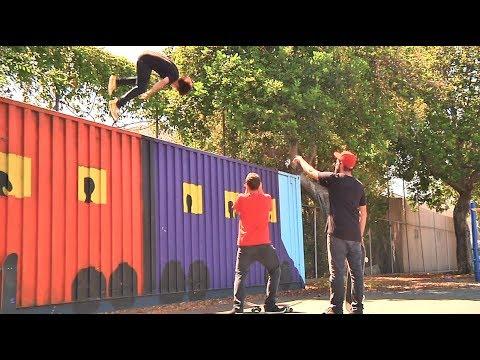 Skater Flips Off Huge Storage Container!