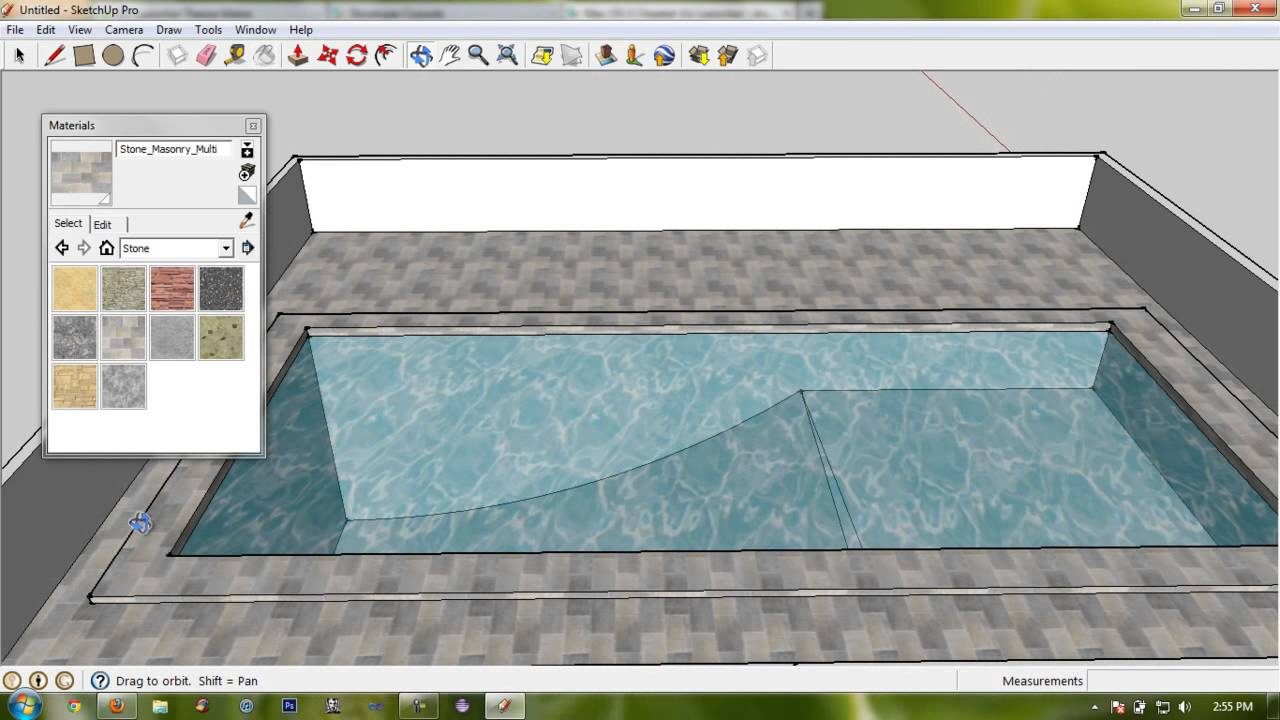 Make basic swimming pool with enviorment google sketchup for Swimming pool drawing