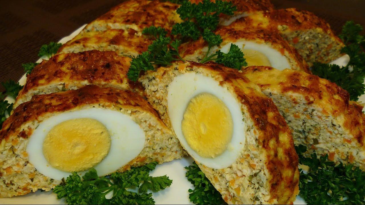 Рулет с куриного фарша с яйцом в духовке рецепт