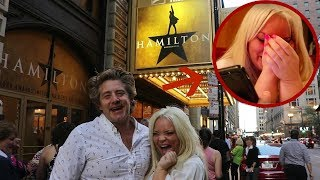 SURPRISING GIRLFRIEND WITH HAMILTON TICKETS!! (emotional)