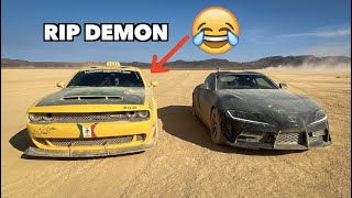MODDED TOYOTA SUPRA DESTROYS DODGE DEMON!!