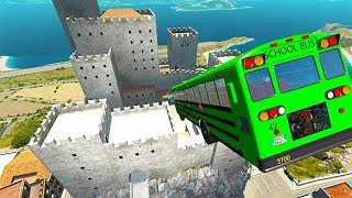 BeamNG drive - High Speed Car Jumps & Falls In Italy Map