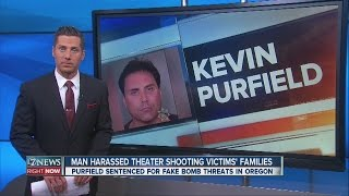 video An Oregon man who harassed relatives of people killed in the Aurora, Colorado, theater shooting has been sentenced in a separate case involving hoax bomb threats at public buildings in Portland....