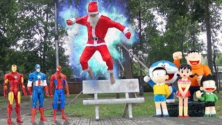 LEARN COLORS FOR KIDS with Santa Claus Noel Seeks Doremon Toys and Marvel Super Hero Toys