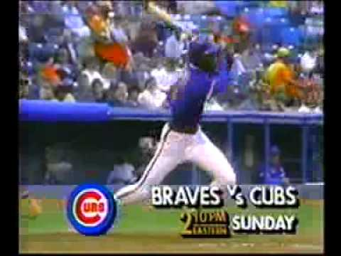 Television commercial for a baseball game on TBS between the Atlanta Braves and the Chicago Cubs. (1988)