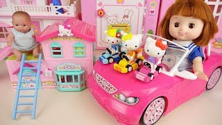 Hello kitty house and baby doll friends toys play