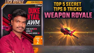 தரமான Free Fire WEAPON Royale Secret Top 5 Tips And Tricks Tamil | PVS GAMING | DUKE SWALLOWTAIL AWM