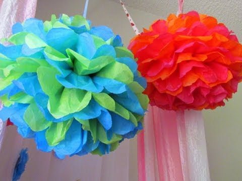 just for fun diy how to make tissue paper pom poms for party or wedding decoration youtube. Black Bedroom Furniture Sets. Home Design Ideas