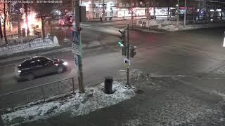 Авария с пожаром автомобиля. Длинное видео. г.Пермь, 7 февраля 2018 года.