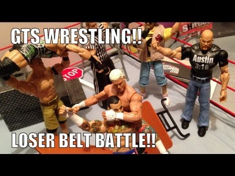 GTS WRESTLING: Loser Belt Battle!! figure matches WWE Parody Mattel elite figure animation