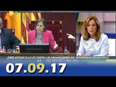 Al Día Debate Político 13tv 07.09.17 El Tribunal Constitucional  suspende la ley del referéndum