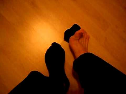 Black Ankle Socks And Bare Feet From Above video