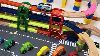 Brio, Train Track Setup, three level train, 8 Bridges, 3 Levels! Cars, Passenger and Steam Trains!